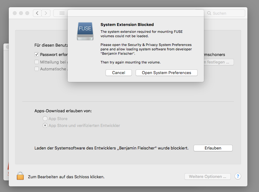 Probleme mit der Installation von FUSE auf macOS High Sierra 10 13 1